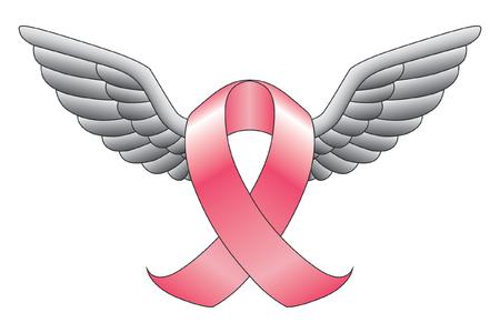 リボンと翼は癌意識や翼を持つその他の原因を示すピンクのリボンなどのリボンのイラストです。  イラスト・ベクター素材