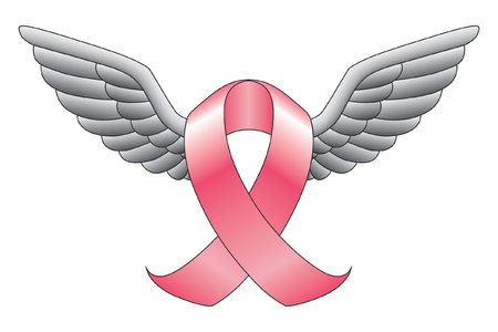 cancer symbol: Ribbon With Wings is an illustration of a ribbon such as the pink ribbon used to represent cancer awareness or other causes with wings. Illustration