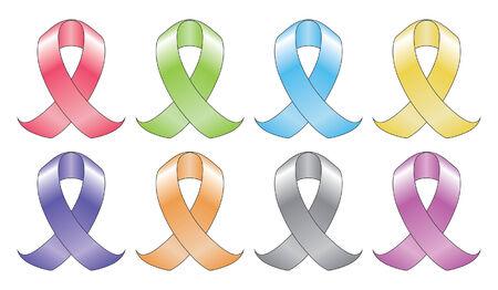 8 色のリボンはなどを様々 な癌を表すために使用されるリボンのイラスト関連の 8 つの異なる色で病気。