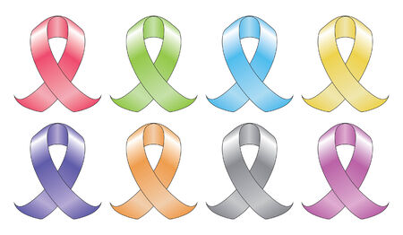 cause: Ribbons In Eight Colors is an illustration of a ribbon such as those used to represent various cancer related illnesses in eight different colors.