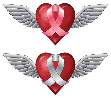翼とリボンとハート ピンクのリボンとハートの形の翼を持つ白いリボンのイラストです。癌意識やその他の原因を表すために使用できます。