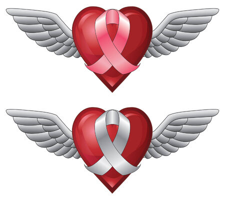 Ribbon With Wings and Heart is an illustration of a pink ribbon and a white ribbon with wings on a heart shape. Can be used to represent cancer awareness or other causes.