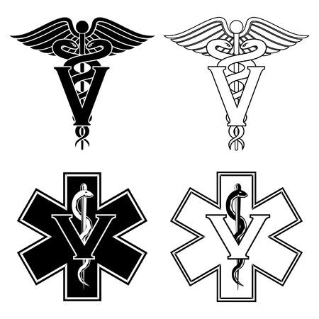 Veterinarian Medical Symbols is an illustration of two versions of a veterinarian medical symbol. At the top are two veterinarian symbols and at the bottom are two emergency veterinarian symbols. Stock Illustratie