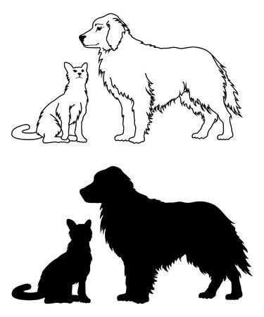 silueta de gato: Perro y gato estilo gr�fico es una ilustraci�n de dos perros y un gato gr�ficos en blanco y negro. Uno est� en una forma del dibujo de esquema y el otro es en forma de silueta