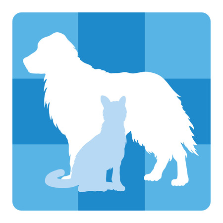 Veterinary Medical Symbol is an illustration of a design for a vet or veterinarian. Includes images of a dog, cat and cross shape.