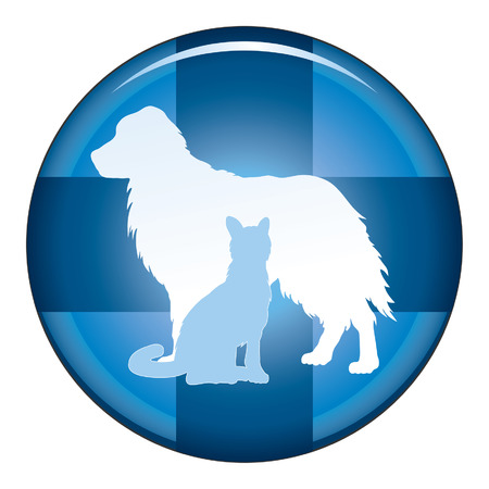 cross shape: Veterinarian Medical Symbol Button is an illustration of a design for a vet or veterinarian on a button. Includes images of a dog, cat and cross shape. Illustration