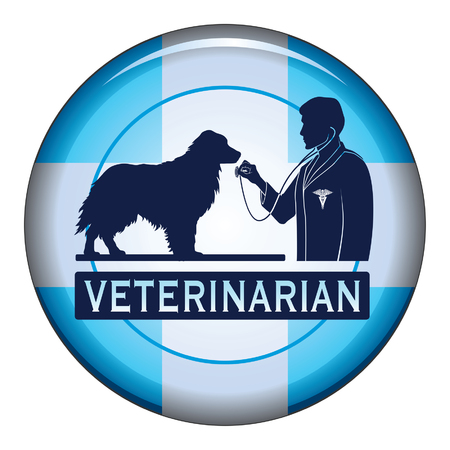 veterinarian symbol: Veterinarian With Dog Button is an illustration of a design for a vet or veterinarian on a button. Includes images of a dog, a veterinarian with stethoscope and a veterinarian symbol. Illustration