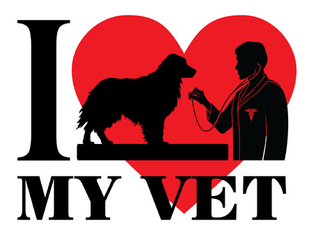 I Love My Vet is an illustration of a design to show your love for your vet or veterinarian. Includes images of a dog, a veterinarian with stethoscope, a veterinarian symbol and a heart shape.