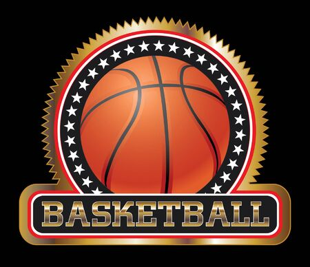 great seal: Basketball Seal or Emblem is an illustration of a basketball design including basketball, stars and a large basketball banner. Great for t-shirts.