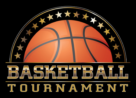 Basketball Tournament is an illustration of a basketball design including basketball, stars and large basketball tournament text. Great for t-shirts.