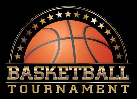 Basketball Tournament is een illustratie van een basketbal ontwerp, waaronder basketbal, sterren en grote basketbaltoernooi tekst. Geweldig voor t-shirts.