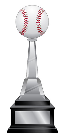 softball: Baseball Trophy - Black Base is an illustration of a baseball or softball trophy with a crystal and black base. Great for champion designs for print or t-shirts.