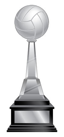 Volleyball Trophy - Black Base is an illustration of a volleyball trophy with a crystal and black base. Great for champion designs for print or t-shirts.