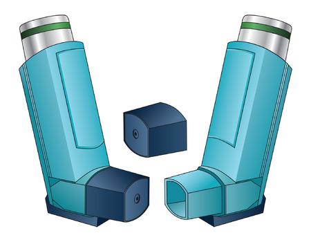 Inhalator is een illustratie van een inhalator gebruikt door mensen met astma, allergieën of andere ademhalingsproblemen.