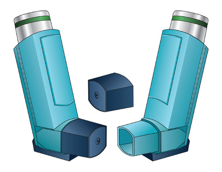 inhaler: Inhaler is an illustration of an inhaler used by people with asthma, allergies  or other breathing problems.