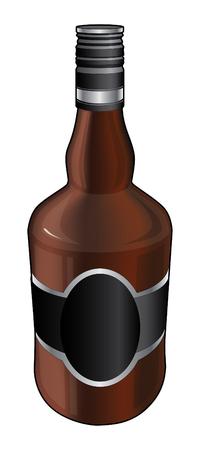 bebidas alcoh�licas: Botella de whisky o alcohol es una ilustraci�n de una botella de color marr�n se utiliza para el whisky y otras bebidas alcoh�licas.