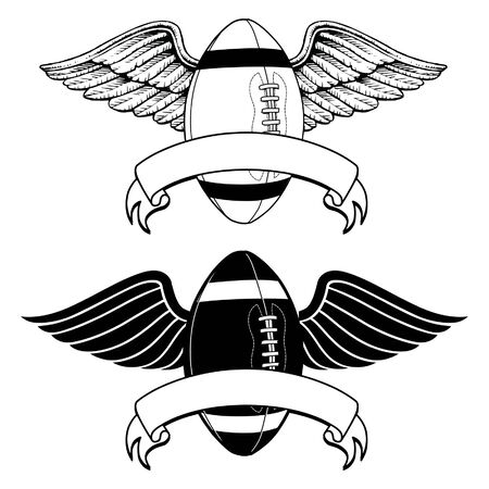 pigskin: Football With Wings Memorial is an illustration of two versions of an American football with wings. Can be used for football memorials or certain mascot applications.