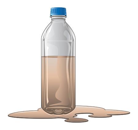contaminacion del agua: Botella Con agua sucia es una ilustración de una botella de plástico o de vidrio medio lleno de agua sucia o agua marrón. Por ejemplo, esto podría ser utilizado para diseños de análisis de agua.