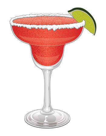 coctel margarita: Margarita-fresa es una ilustración de una margarita de fresa congelada con sal en el borde de la copa y una rodaja de limón.