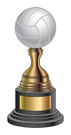 pelota de voleibol: Trofeo de Voleibol - El oro y la Base Negro es una ilustraci�n de un trofeo voleibol con un oro y una base de negro. Grande para el campe�n o laudo dise�os para la impresi�n o camisetas.