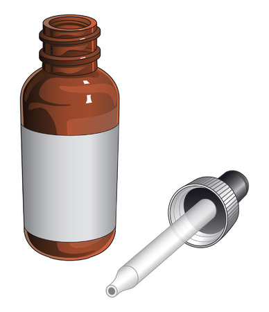 Bottle With Dropper is an illustration of a bottle with a dropper used for medicine, eye drops, etc.