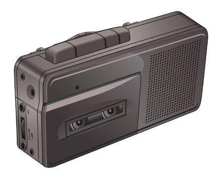 dictating: Cinta de la vendimia o la grabadora de voz es una ilustraci�n de una peque�a cinta o grabadora de voz utilizado vendimia para las notas de dictado y entrevistas.