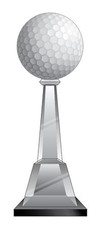 trofeo: Golf Trofeo de cristal es una ilustración de un trofeo de golf con una base de cristal. Grande para el campeón o laudo diseños para la impresión o camisetas.