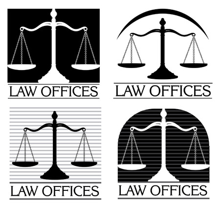 law: Law Offices is an illustration of four designs that can be used for law offices lawyers or law firms.