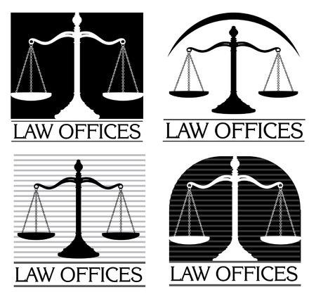 DERECHO: Oficinas de Derecho es una ilustración de cuatro diseños que se pueden usar para oficinas de abogados abogados o bufetes de abogados.
