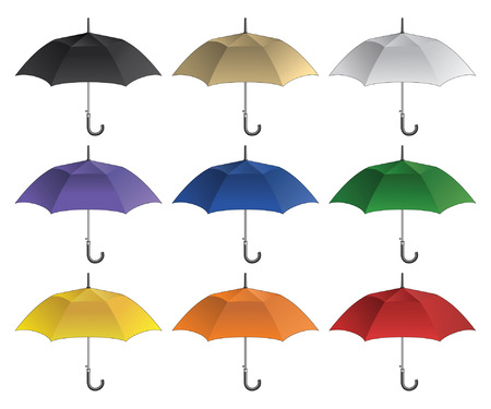 UmbrellaBlank is an illustration of a blank umbrella in nine different colors. Great for mockups and proofs.
