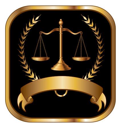 justicia: Derecho o un abogado Sello de Oro Vectores