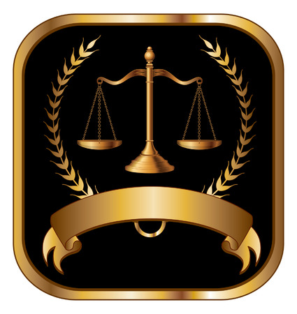 justice scales: Law or Lawyer Seal Gold