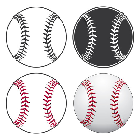 Baseballs is an illustration of a baseball in four styles from simple black and white to complex full color. Stock Vector - 41549574