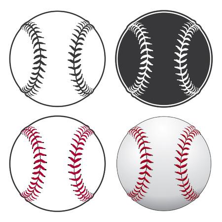 Baseballs is een illustratie van een honkbal in vier stijlen, van eenvoudige zwart-wit tot complexe full colour. Stock Illustratie