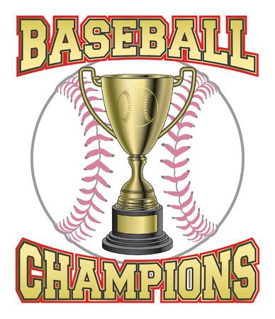 Baseball Champions est une illustration d'une conception pour les champions de baseball ou de championnat. Comprend une balle de baseball trophée en or et le texte BASEBALL CHAMPIONS. Banque d'images - 41904446