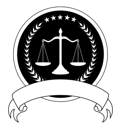 firms: Law or Lawyer Seal With Banner is an illustration of a one color design for law lawyers or law firms that could be used as a logo or seal in striking reflective gold and black. Includes scale of justice laurel stars and a banner for your text.