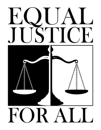 balanza de la justicia: Equal Justice For All es una ilustración de un diseño que representa el concepto de la igualdad de la justicia para todos. Hecho en un impactante blanco y negro para dar énfasis.