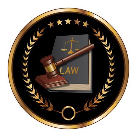 Wet of Layer Seal is een illustratie van een ontwerp voor de wet, advocaten of advocatenkantoren die kunnen worden gebruikt als een logo of zegel in opvallende reflecterende goud en zwart. Inclusief wet boek, hamer, laurier en gouden sterren.