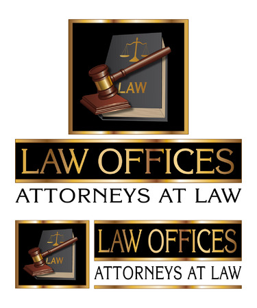 firms: Law Firm Design With Gavel is an illustration of a design for law, lawyers, or law firms. Includes a gavel, law book law offices and attorneys at law text.