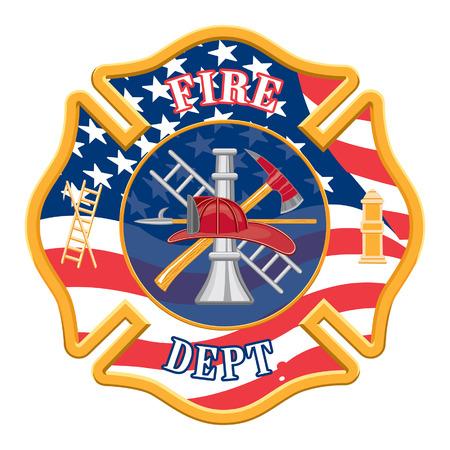 resplandor: Departamento de Bomberos de la Cruz es una ilustraci�n de un cuerpo de bomberos o cruz bombero con el logotipo de bomberos herramientas y la forma de la bandera de Estados Unidos.