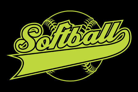 softbol: Diseño del softball con la bandera es una ilustración de un diseño de softball con una pelota de béisbol y un texto. Incluye una cola o bandera de la cinta para su propio nombre del equipo o el otro texto. Grande para las camisetas.