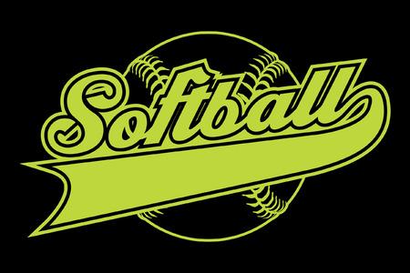 Softball Design Met Banner is een illustratie van een softbal design met een softbal en tekst. Inclusief een staart of lint banner voor uw eigen team naam of andere tekst. Geweldig voor t-shirts. Stockfoto - 43207938