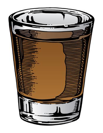총 유리 손으로 그린 위스키 등 알코올로 유리 잔의 그림입니다. 손으로 그린 예술은이 그림에 고유 한 모습을 제공하고, 색상이 쉽게 알코올