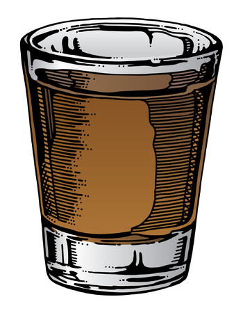 vidrio: Shot Glass Hand Drawn es una ilustración de un vaso con whisky u otras bebidas alcohólicas. Mano del arte dibujado da esta ilustración una mirada única y el color se puede cambiar fácilmente para diferentes tipos de alcohol.