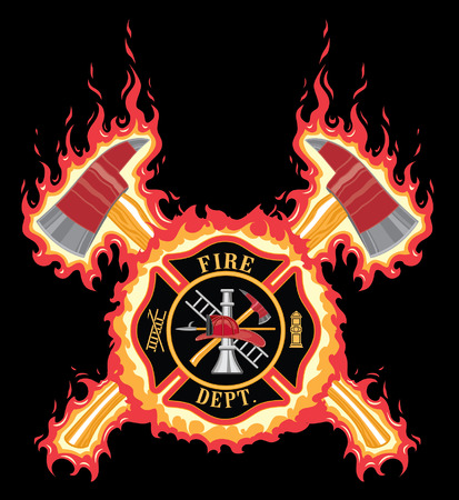 Firefighter Cross With Axes and Flames is an illustration of a fire department or firefighter cross with the firefighters tools logo and crossed axes with flame or fire background. Stock Illustratie
