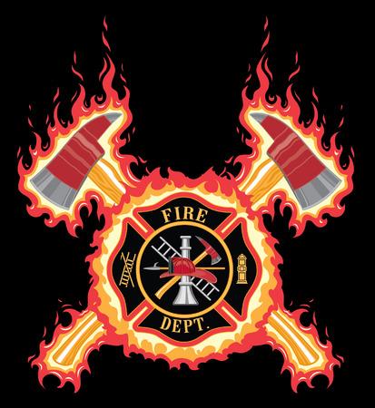 Cruz del bombero con las hachas y de las llamas es una ilustración de un cuerpo de bomberos o cruz bombero con el logotipo de bomberos herramientas y cruzó ejes con la llama o el fuego de fondo. Foto de archivo - 43469225