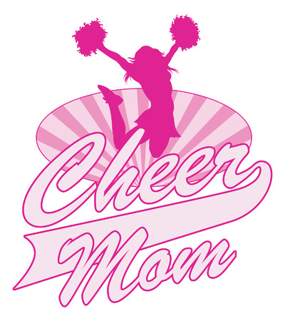 cheerleading: Cheer Mom Design is an illustration of a cheer design for cheerleaders moms. Includes a jumping cheerleader, sunburst oval and Cheer Mom text.