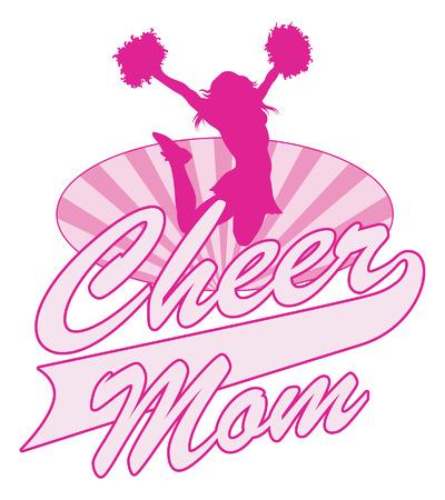 porrista: Cheer Mom Dise�o es una ilustraci�n de un dise�o de alegr�a para cheerleaders mam�s. Incluye una animadora de salto, oval rayos de sol y el texto de la alegr�a mam�. Vectores