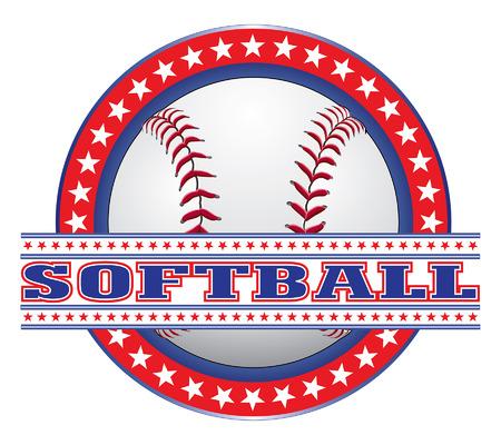 softbol: Dise�o del softball - blanco y azul rojos es un ejemplo de un dise�o del softball hecho en blanco rojo y azul. Incluye una pelota de b�isbol, c�rculo de estrellas y softbol. Vectores