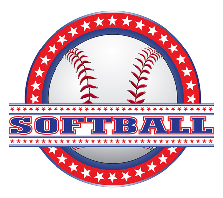 red white blue: Softball Design - Red White and Blue is an illustration of a softball design done in red white and blue. Includes a baseball, circle of stars and softball. Illustration
